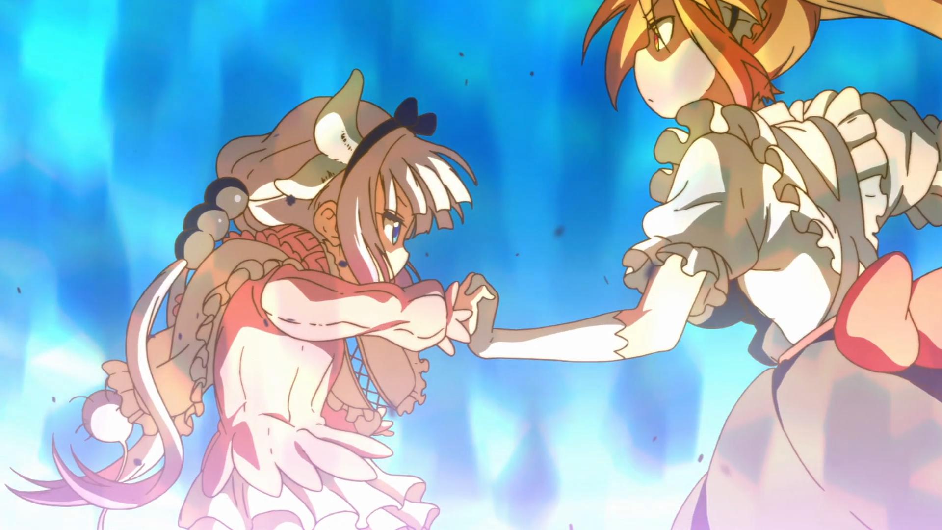 Kanna e Tohru giocano a fare la lotta. Lotta fra draghi.
